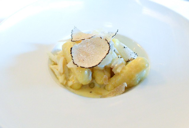 handmade potato gnocchi tossed with blue crab and black truffle