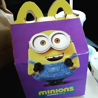 Oh yes....this is happening right now and I see more in my future. Need to collect all of the little guys!  #HappyMeal #minions #banana #mcds Bonus, I scored a free Minions movie ticket! #feellikeakidagain #dontjudge