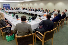 U.S. Secretary of State John Kerry sits with leaders of the American Jewish Committee about the U.S./E.U./P5+1 Iranian nuclear deal during a visit to New York, N.Y., on July 24, 2015. [State Department photo/ Public Domain]