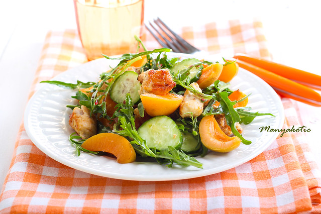 Chicken, apricot, rocket and cucumber salad
