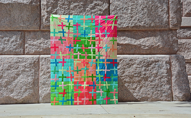 Kona Wonky Crosses quilt top