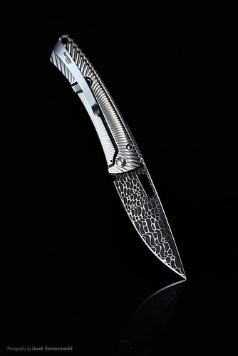 LionSteel TiSpine TS1 Damascus Lizard folding knife.