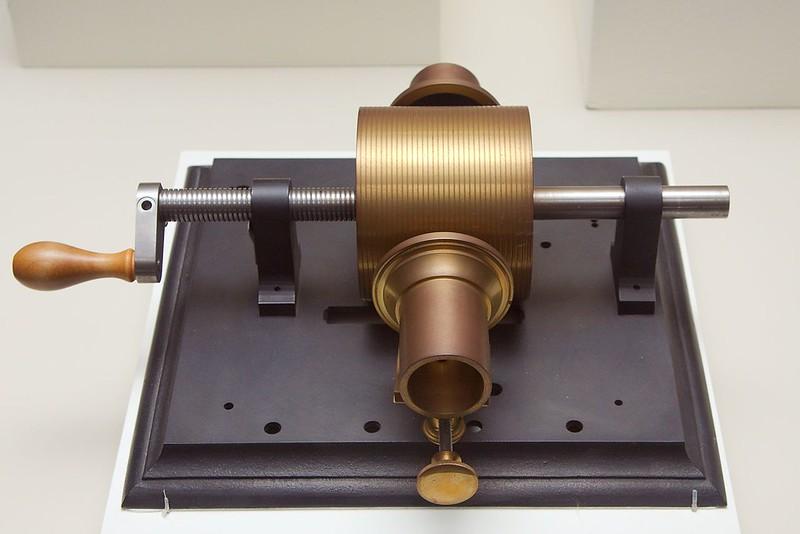 "Replica of a 1877 prototype Edison ""Kruesi"" tinfoil phonograph"