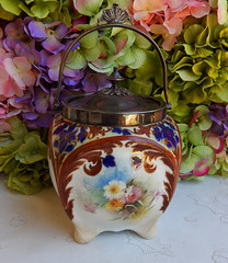 Antique Doulton Burslem Flow Blue Floral Covered Biscuit Cracker Jar