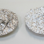Dave Seiler; Good Economy Bad Economy as viewed through the life of a dinner coconut cream pie; cast iron with nickel plating enamel paint and patina; 4x10x10; 2015 - FIRED: Iron September 17 - November 15, 2015