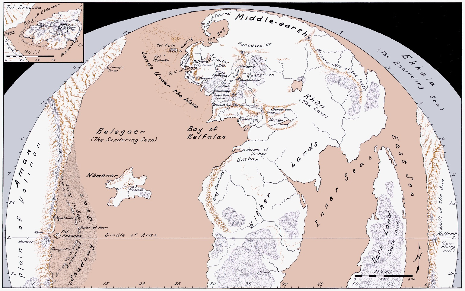 here is karen wynn fontstadts map of arda in the second age including nmenor but not beleriand