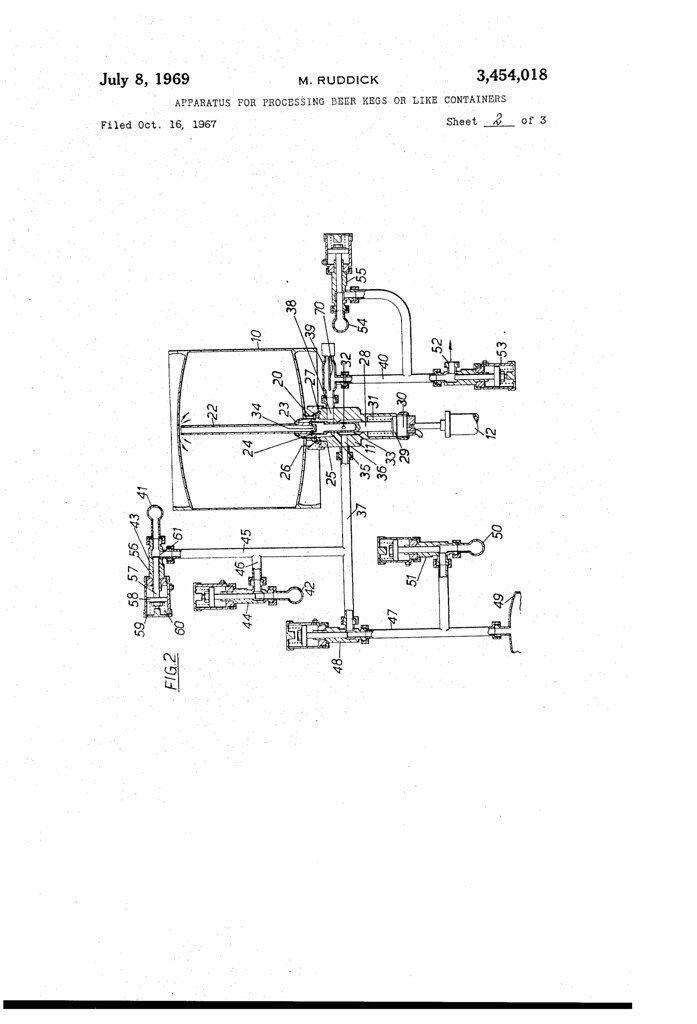 patent no  3454018a  apparatus for processing beer kegs