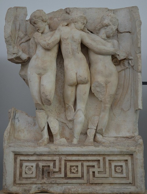 Relief from the Sebasteion depicting the Three Graces in a typical Hellenistic style, Aphrodisias Museum, Turkey