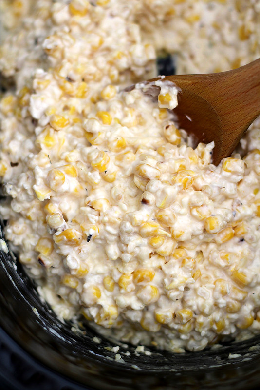 Slow Cooker Mexican Grilled Corn Dip | girlversusdough.com @girlversusdough