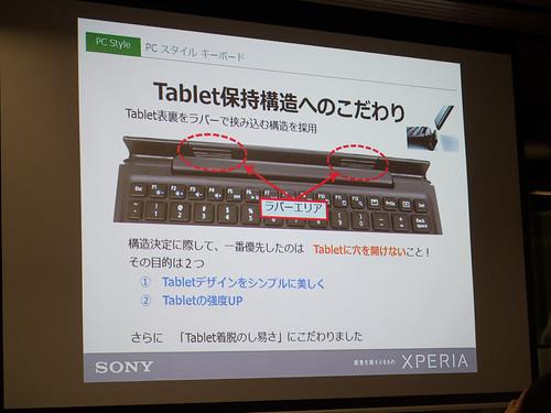 Xperia アンバサダー ミーティング スライド : BKB50 では、Xperia Z4 Tablet に穴をあけずに着脱しやすいラバー構造を採用しています