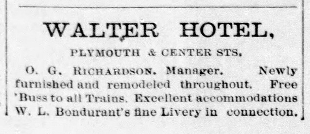 1898 - O G Richardson's Walter American House Hotel - Enquirer - 21 Jan 1898