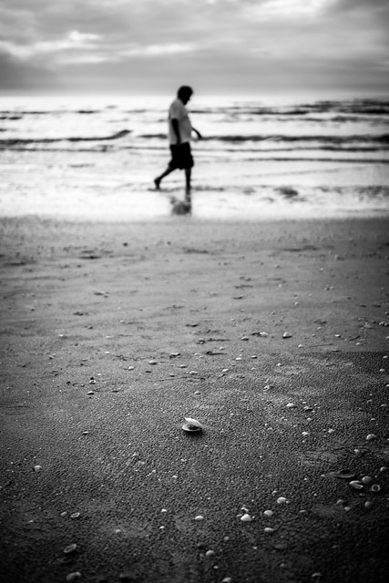 The shell and the man - Florida, United States - Black and white photography