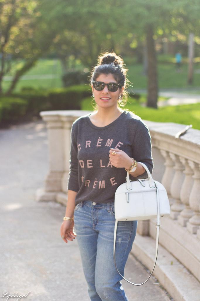 creme de la creme sweatshirt, boyfriend jeans, silver pumps-1.jpg