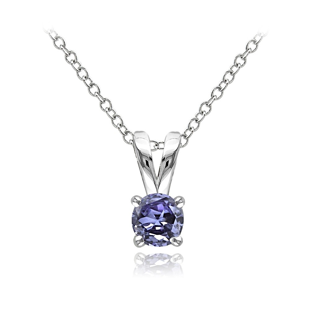 Tanzanite Necklace Tanzanite: Sterling Silver 1/2ct Tanzanite Round Solitaire Necklace