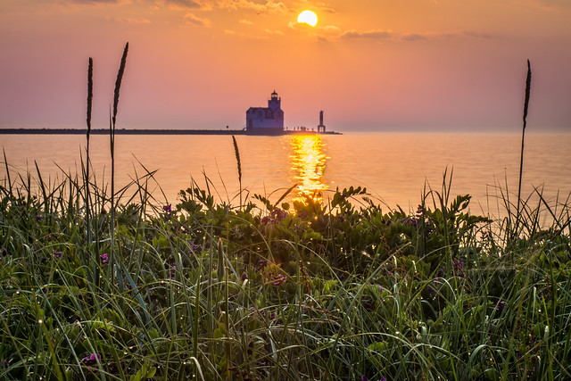 Lake Michigan, Sunrise, Lighthouse, Kewaunee, Grass, Reflection