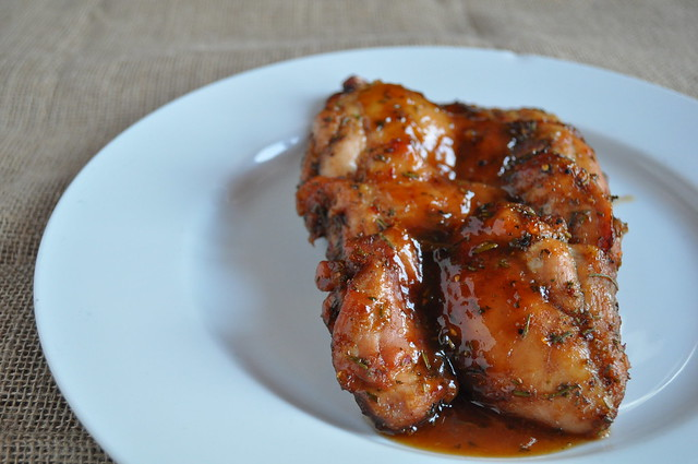 Rosemary Balsamic Apricot Glazed Chicken Thighs