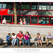 Red Bus, People on Bench by G Dan Mitchell