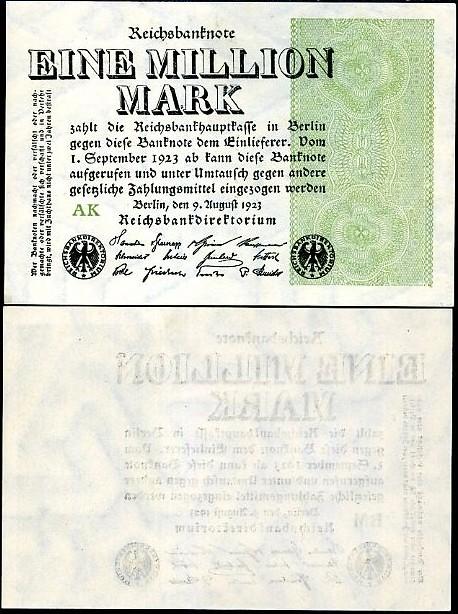 1 000 000 nemeckých mariek Nemecko 1923, Pick 102