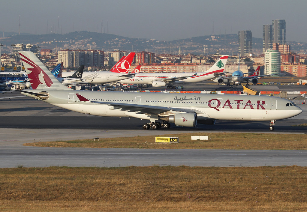 On the way to RWY35L for departure back home to Doha DOH. Leaving a crowded ramp behind. Delivered 04/2008.