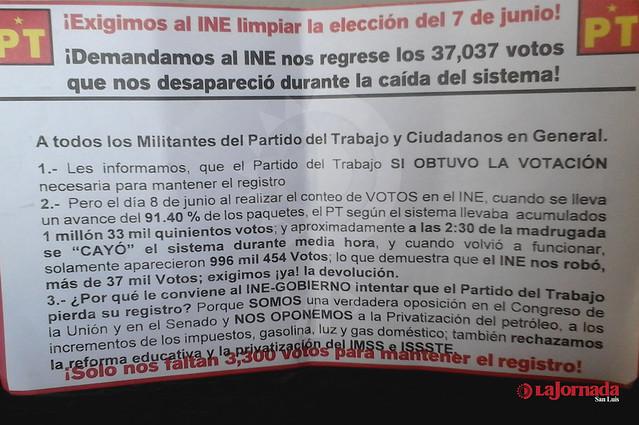 Exige PT al INE devolverle 37 mil 37 votos