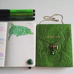 #dolphin #drawing #moleskinepocket #diary #journal #green #rihno #sketchbooks #notebook #delfin #dibujo #leatherjournal