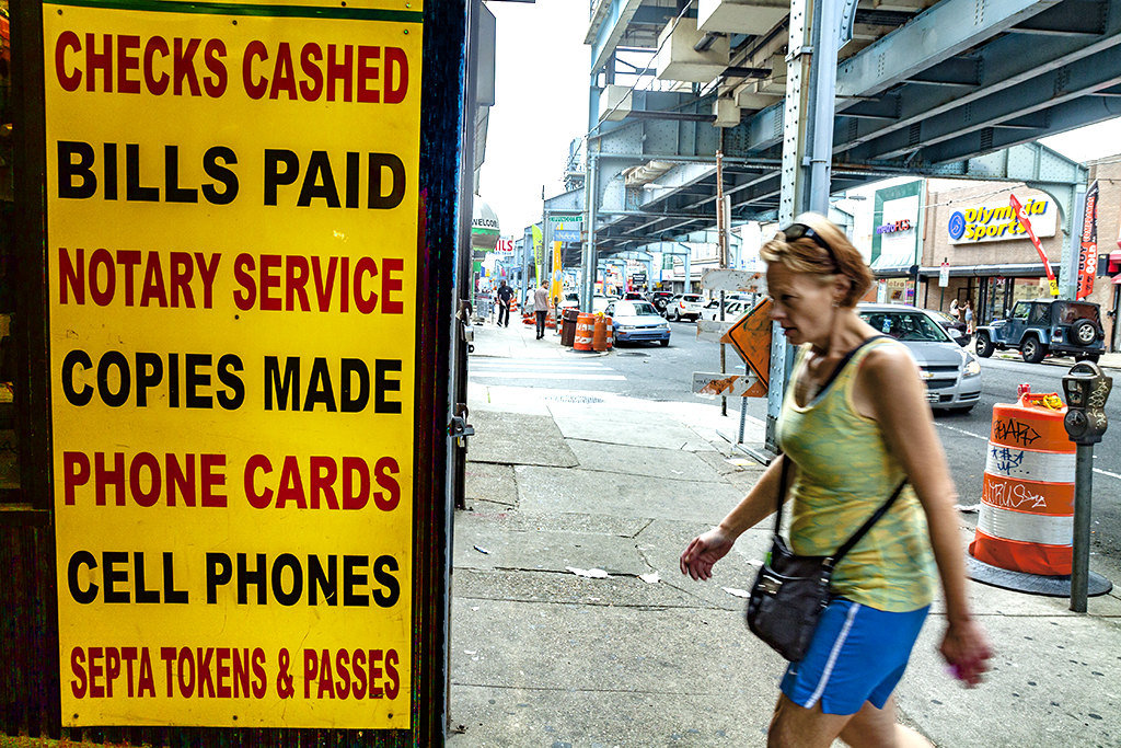 Check cashing store at Kensington and Allegheny on 7-25-15--Kensington