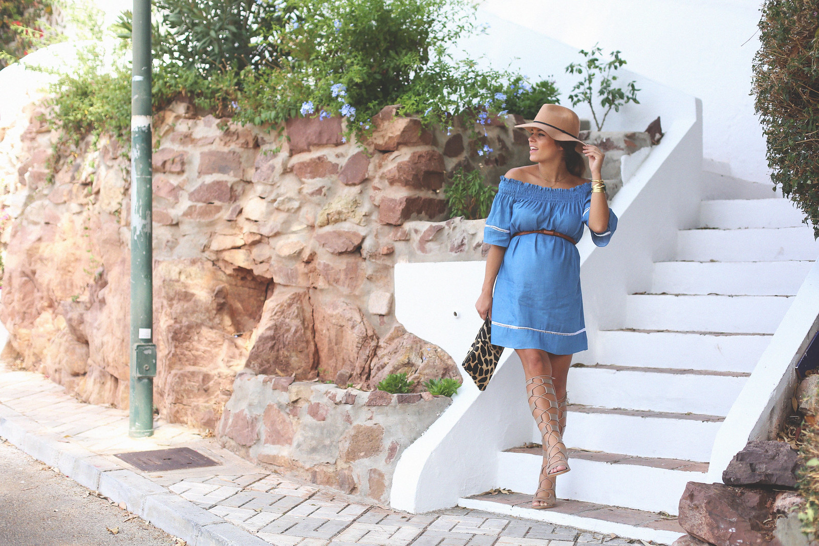 4. off shoulders denim dress - jessie chanes - pregnancy