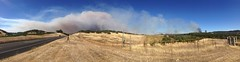 Panorama of Rocky Fire; looking North from the side of Route 53