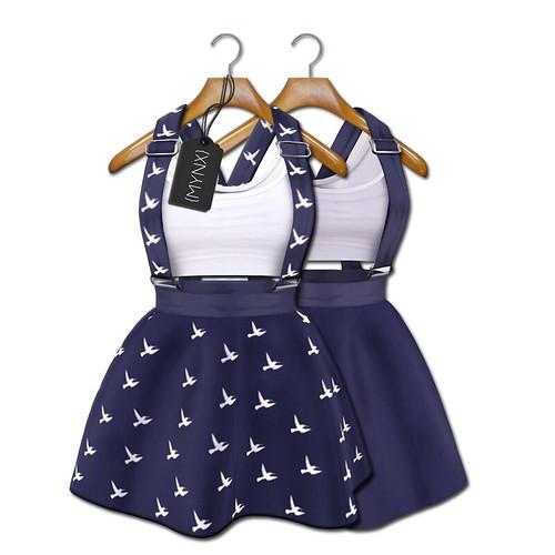 {MYNX} Suspender Dress - Navy Birds