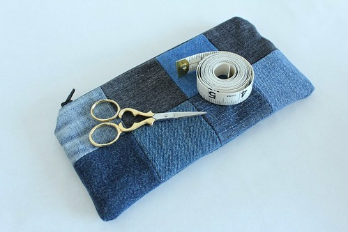 Upcycled Patchwork Zipper Pouch on Etsy
