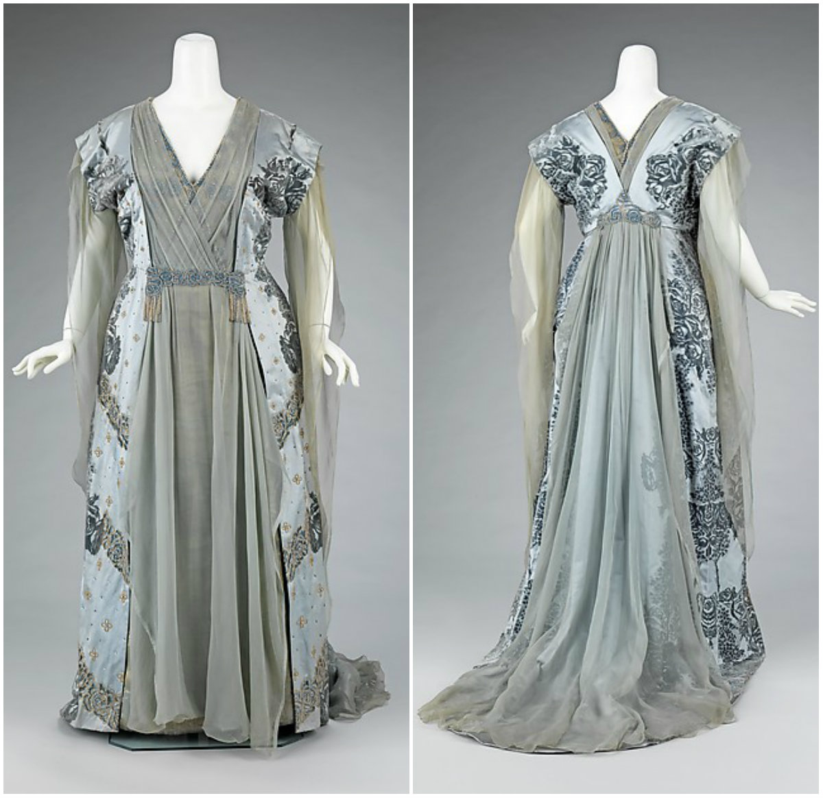 1910. Tea Gown. Silk, rhinestones, metal. metmuseum