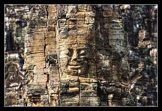 Siem Reap K - Bayon stone face 03