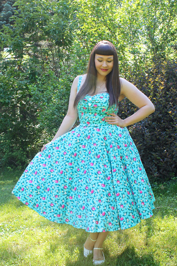 pinup girl clothing nancy dress in blue lemonade print