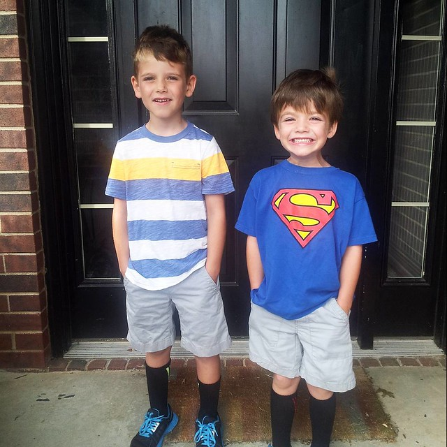 There's only two things my boys look forward to more than Christmas: fireworks at 4th of July, and VBS. Today's the first day, and the excitement in our house is OOC. Connor is beside himself because he gets to go too this year! #mboys2015
