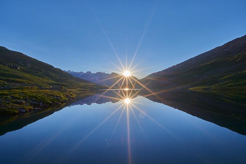 Sun reflecting in Märjelensee - Märjelensee