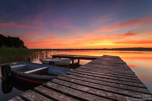 skyline sonnenuntergang outdoor himmel wolken schleswigholstein steg afterglow abendrot ruderboot utecht ratzeburgersee