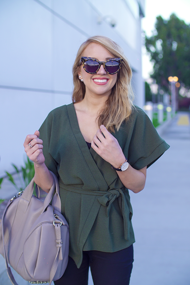 asos green kimono, karen walker starburst, tortoise cat eye sunglasses, cat eye sunglasses, tortoise sunglasses, olive green top