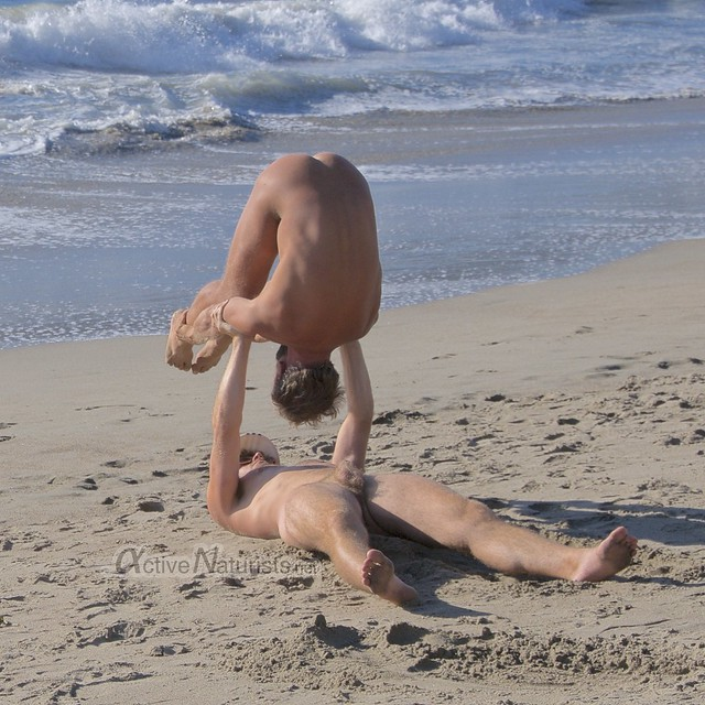 naturist acro-yoga 0002 Marshall's Beach, San Francisco, California, USA