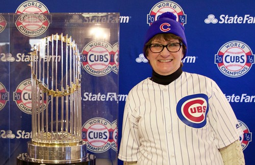 Laura and the Cubs' World Series trophy