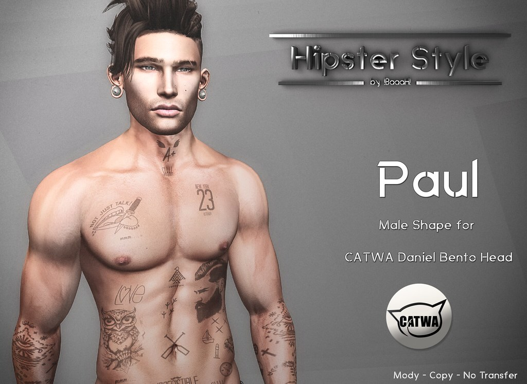 [Hipster Style] Paul Male Shape for CATWA Daniel Bento Head - SecondLifeHub.com