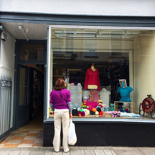 Cork Wools has settled into their Castle Street location so nicely. #knitting #CorkCity #corkwalkies #knit #lys #corkwools #ireland #windowshopping #castlestreet