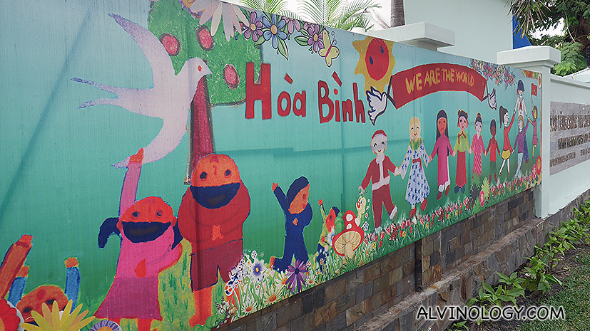 Children's mural on the outside