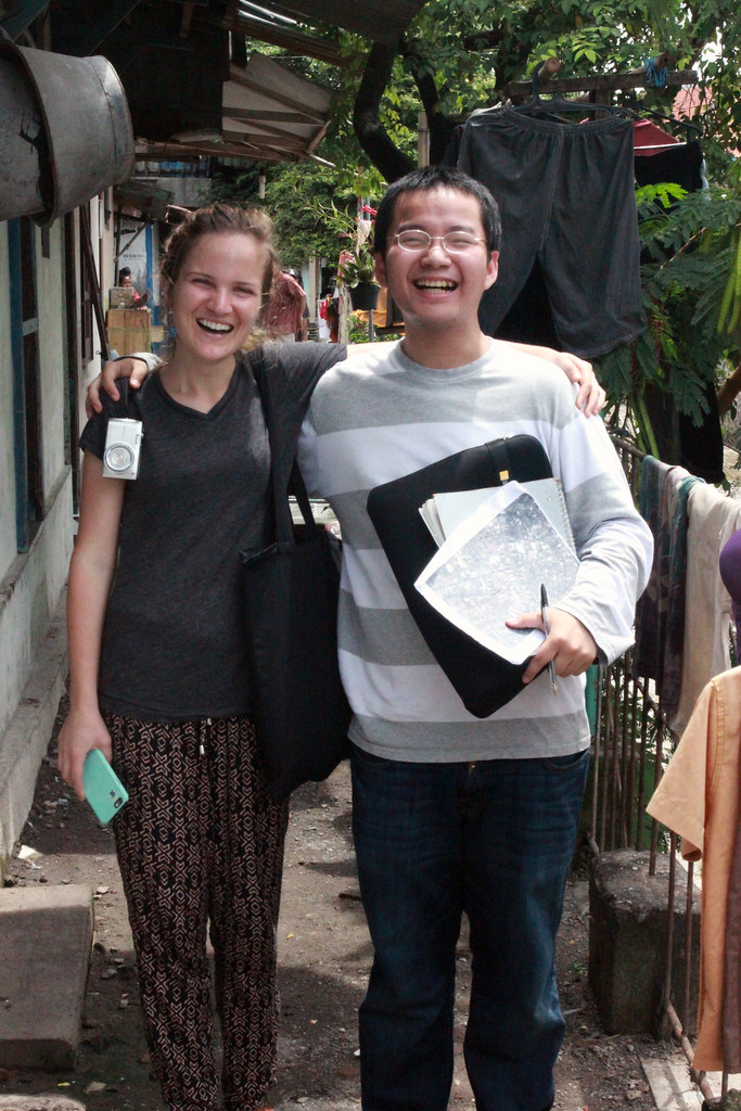 Sarah Dougherty (M.R.P. '16) and Thet Hein Tun (M.R.P. '16), pose for a photo while collecting data for one of the case studies of informal urban settlements along the Pepe River in Surakarta, Indonesia, as part of the International Development Planning Workshop.
