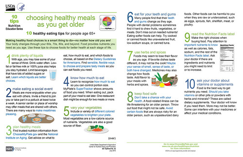 "New 10 Tips Resource, ""Choosing Healthy Meals As You Get Older"" infographic"