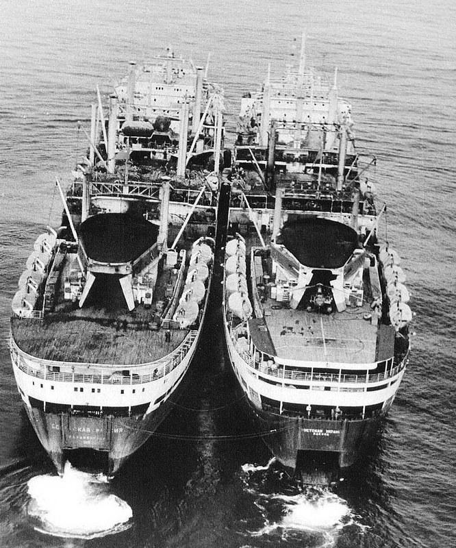 在捕鯨歷史中,最大的兩艘捕鯨船。左邊的為 Sovetskaya Rossiya,右邊為 Sovetskaya Ukraina。圖片取自:P. Clapham et al., 2009研究文章