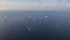 Ships and submarines from the Republic of Singapore Navy and U.S. Navy gather in formation during the underway phase of CARAT Singapore in the South China Sea. (U.S. Navy/MC2 Joe Bishop)