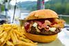 House Ground Burger w/ Bacon, Slaw, Smoked Gouda, and BBQ Sauce - Table 9