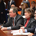Rep. John Piscopo, left, testifies in favor of his proposed bill, HB 5101, during a public hearing of the legislature's Planning & Development committee.  He is joined by constituent Franci Tartaglino. a small business owner in Harwinton, along with Harwinton First Selectman Michael Criss.