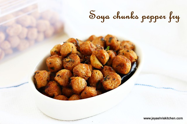 Soya chunks- pepper fry