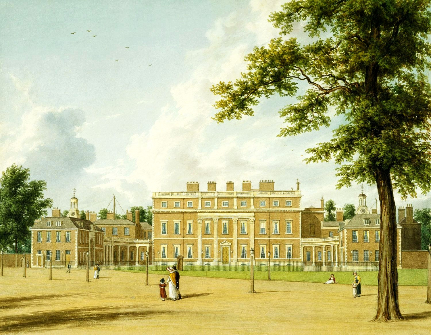 A view of the East Front of Buckingham House, before it was rebuilt as Buckingham Palace, 1819